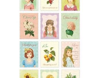 Postzegel stickers met meisjes en bloemen