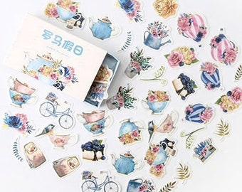 Bloemen en theepotten stickers, 40 stuks