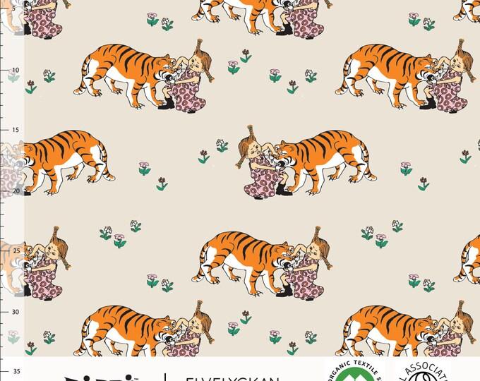 Biologische tricot stof met Pippi Langkous en tijger. Elvelyckan Pippi Långstrump. GOTS biologisch