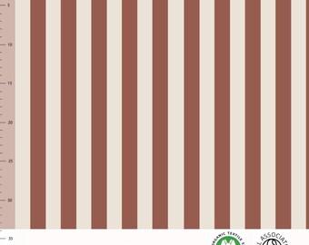 Biologische tricot stof met verticale strepen. Elvelyckan Vertical Rusty