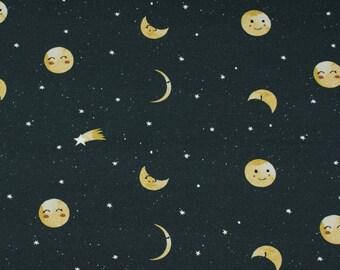 Zwarte french terry stof met maan en sterren