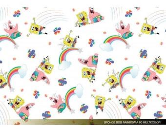 Witte katoen met Spongebob. Geweven stof. 100% katoen