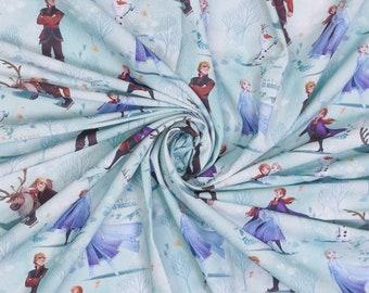 Blauwe katoen met Anna en Elsa. Frozen stof