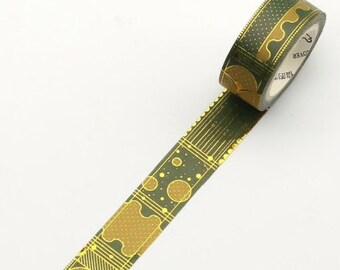 Groene washi tape met goud foil