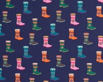 Coupon: Donker blauwe tricot stof met laarzen