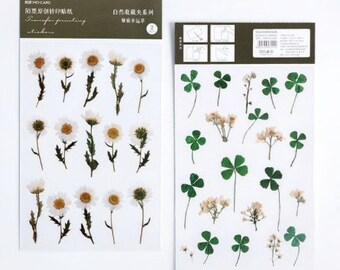 Witte bloemen stickers