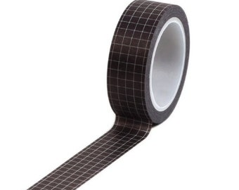 Zwarte washi tape met witte ruitjes