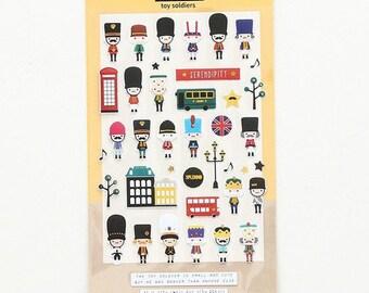 Journal stickers, agenda stickers, Engelse reis stickertjes, notebook scrapbooking stickers, Engeland, Engelse vlag, speelgoed soldaatjes