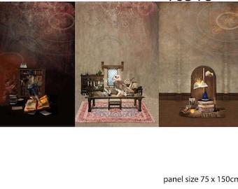 Bruine french terry met magische taferelen. Jonge magiër, uil, tovenaarshoed en boeken. Drie panelen