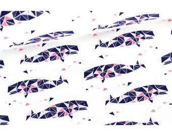 Coupon: Witte french terry met geometrische walvissen. Donkerblauw, roze en paars. Ahoi Triangle Wale