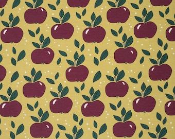 Biologische tricot stof met appels. Elvelyckan Apples Gold