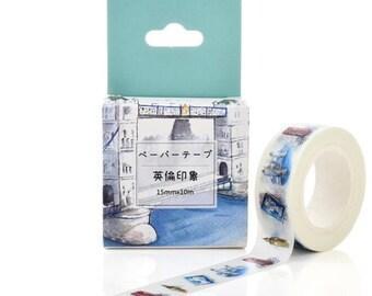 Witte washi tape met Engelse toeristische plekken
