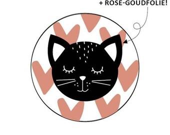 Ronde stickers met kat en hartjes. 30 stuks