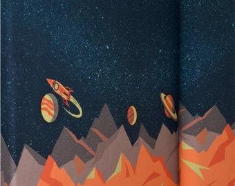 Blauwe french terry met planeten en ruimteschepen. Galaxy Tales by Bienvenido Colorido. Paneelstof. Paneel