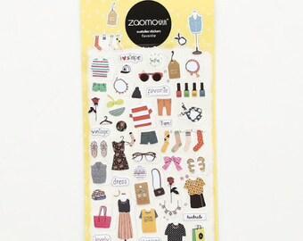 Vakantie stickers met kledingstukken en tassen