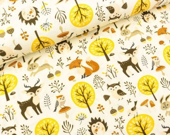Beige tricot stof met bosdieren. Herten stof, vossen stof, uilen stof