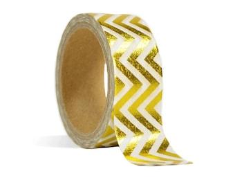 Witte washi tape met gouden zigzag patroon. Gold foil patroon washi tape, masking tape