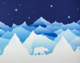 Blauwe french terry met ijsberen, bergen en sterren. Wild Shadows by Lycklig