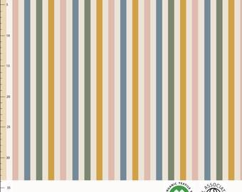 Biologische tricot stof met verticale strepen. Elvelyckan Slim Rainbow