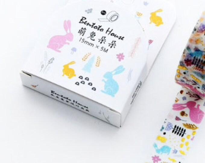 Witte washi tape met hazen en gold foil. Goud washi tape, paas washi tape. konijnen washi