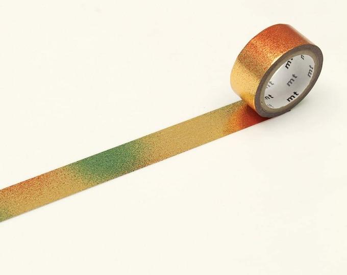 MT washi tape Piece Gold. Gold foil washi tape met groene, gele en oranje tinten. Goud washi tape