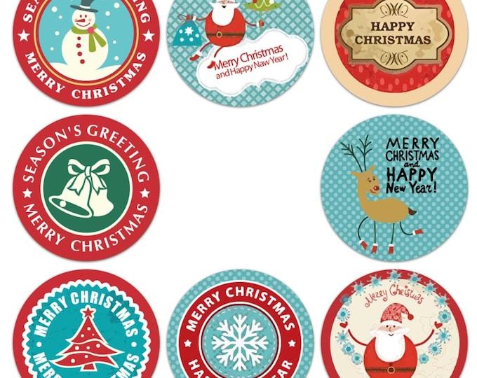 Kleine ronde kerst stickers, 40 stuks