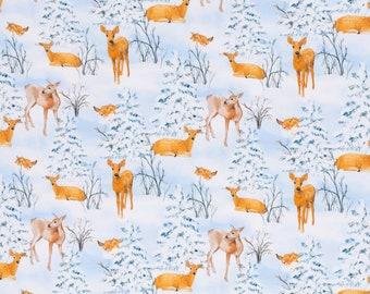 Tricot stof met herten in de sneeuw