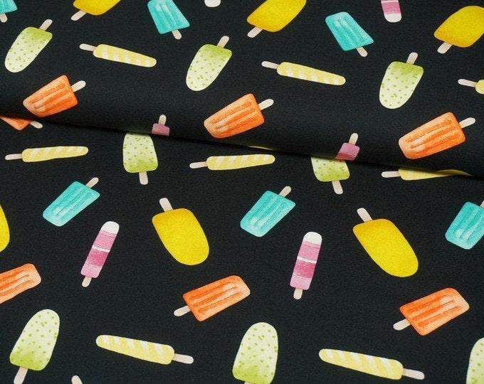 Zwarte tricot stof met ijsjes