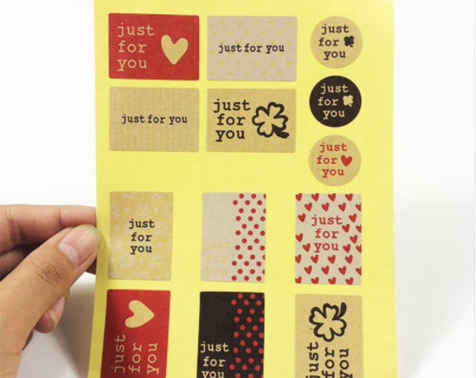 Just for You stickers. Kado stickers, per 52 stuks