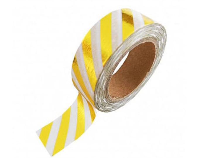 Witte washi tape met goud foil strepen