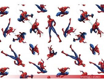 Witte katoen met Spiderman. Geweven stof. 100% katoen