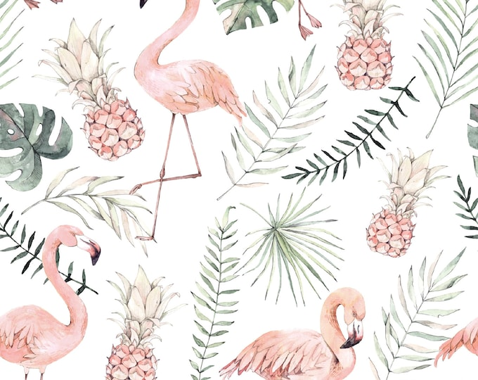 Off-white tricot stof met flamingo's en bladeren