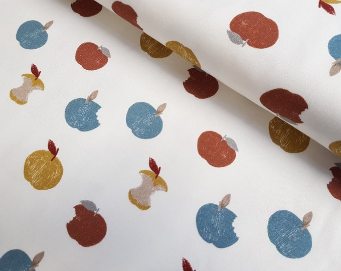 Wolwitte french terry stof met appels