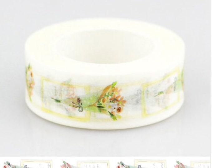 Witte washi tape met bloemen