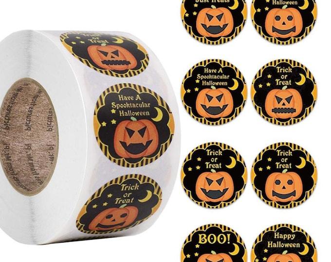 Kleine ronde Halloween stickers. Per 40 stuks