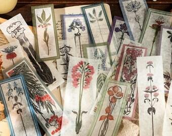 Retro bloemen stickers, 40 stuks