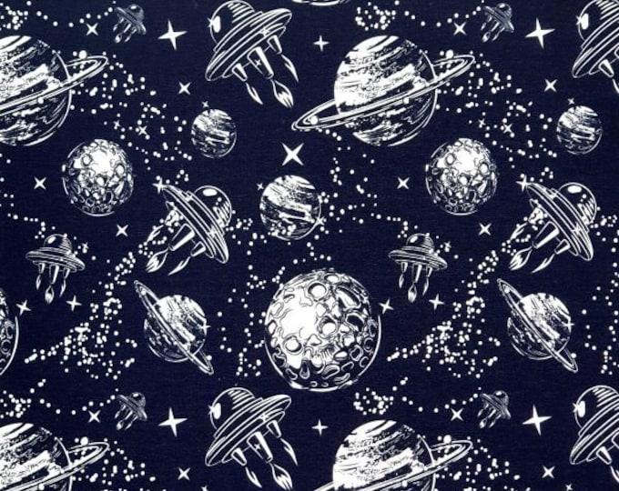 Zwarte french terry stof met planeten