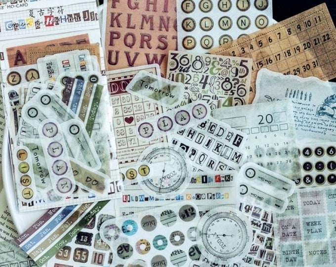 Retro typemachine stickers, 60 stuks