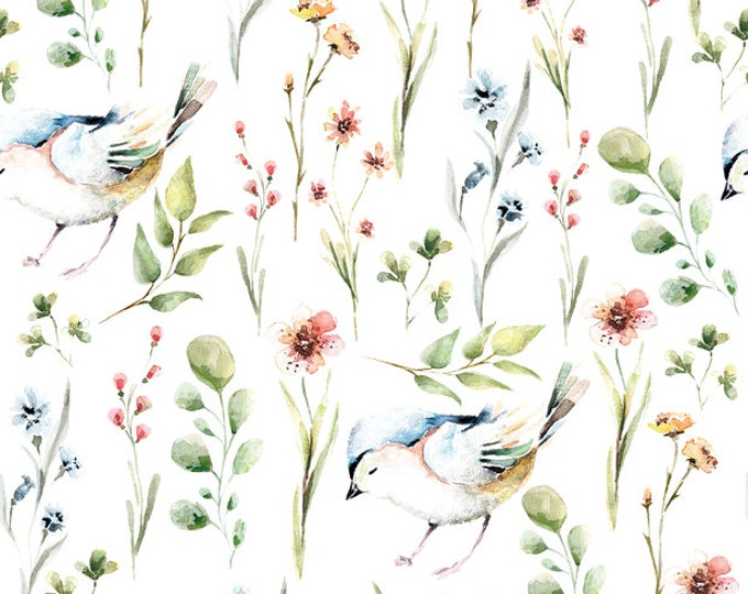 Witte tricot stof met takjes, bloemetjes en vogeltjes