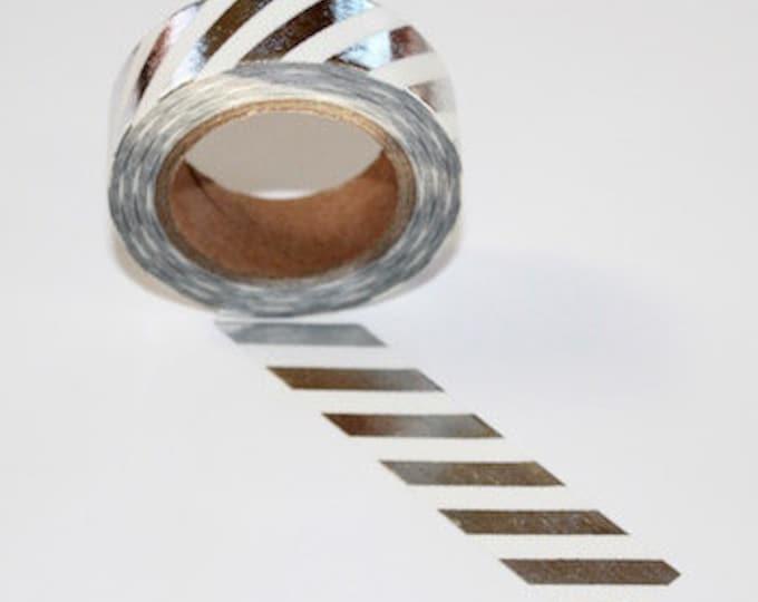 Witte washi tape met zilver foil strepen