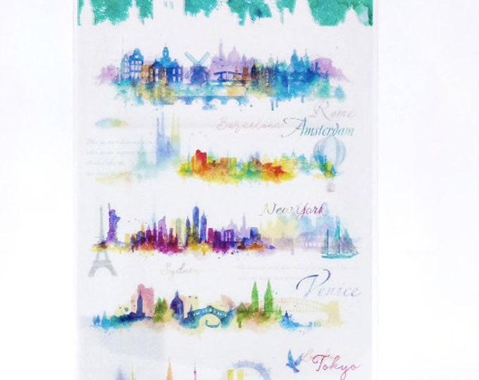 Washi skyline stickers, steden stickers