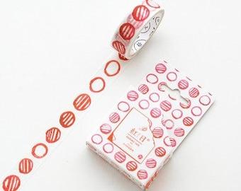 Washi tape met rode rondjes. Rode circles washi tape, aquarel washi tape