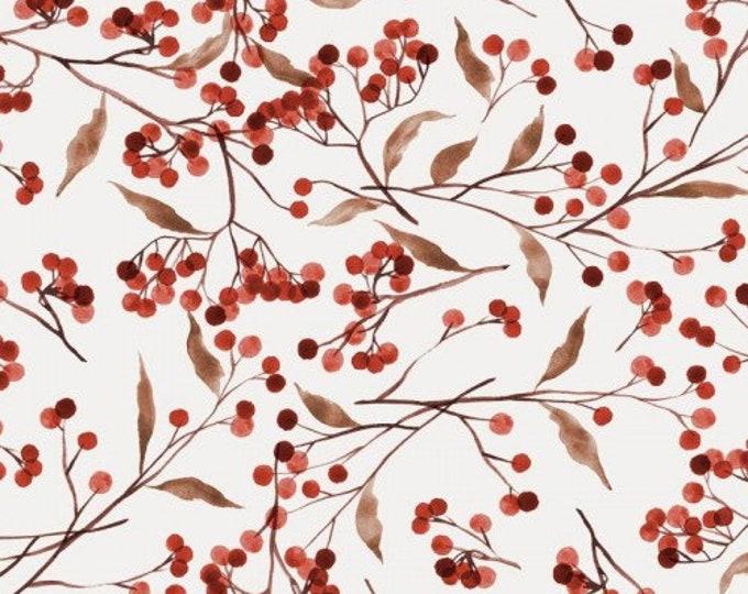Witte tricot stof met rode bessen. Family Fabrics