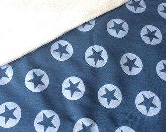 Coupon: Blauwe french terry stof met sterren