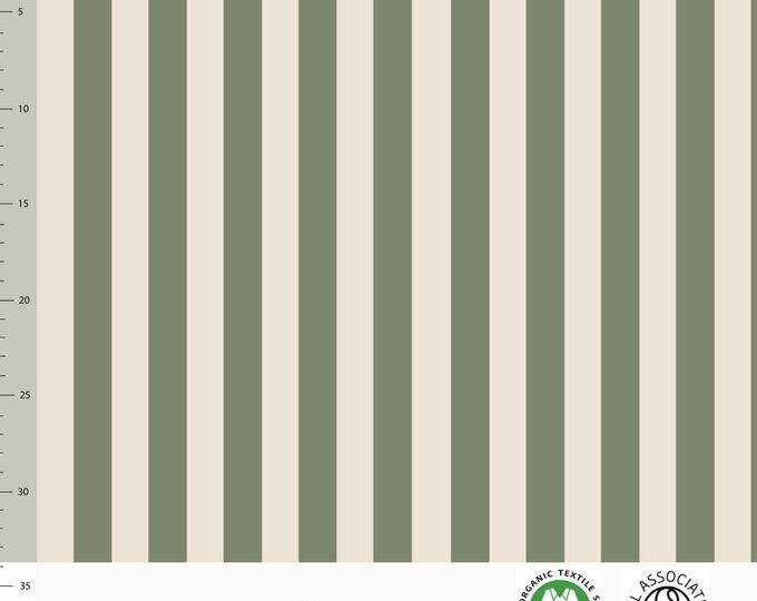 Biologische tricot stof met verticale strepen. Elvelyckan Vertical Green (033)