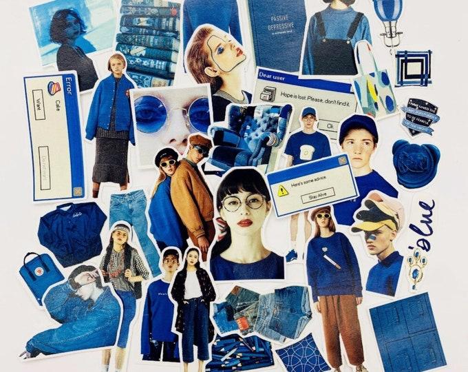 Retro sticker set, blauwe vinyl stickers, 32 stickers
