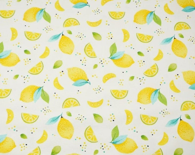 Witte tricot stof met citroenen. Fruit tricot