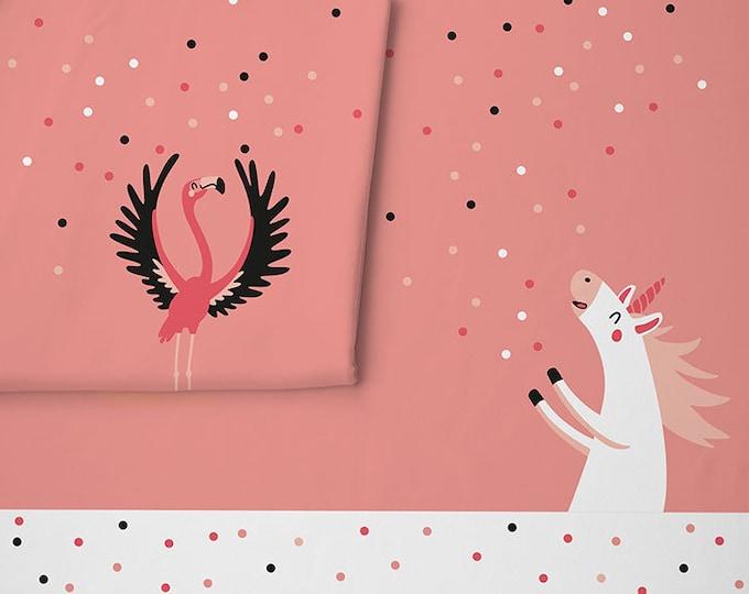 Roze tricot met eenhoorn en flamingo. Paneel 95 centimeter