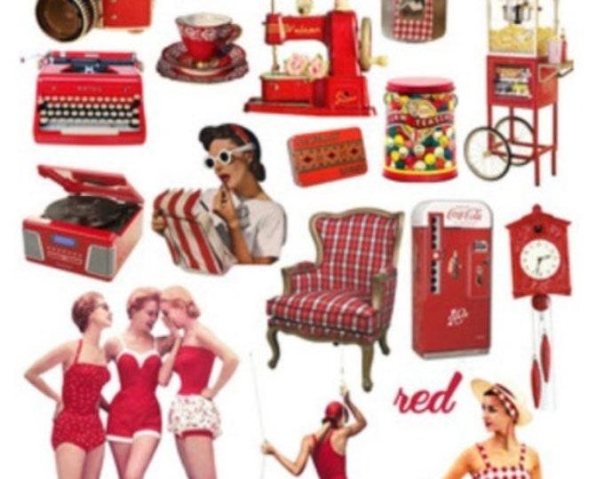 Retro sticker set, rode vinyl stickers, 21 stickers