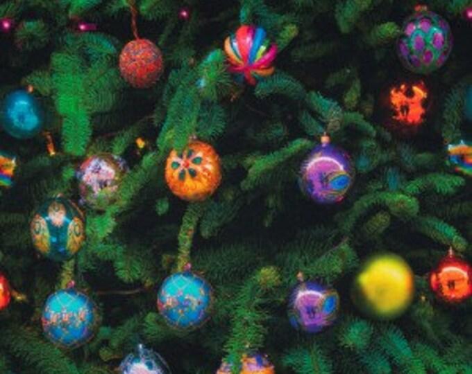 Kerst tricot stof met kerstballen